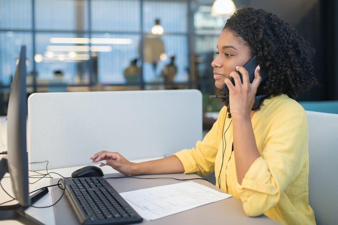 professional receptionist answering calls